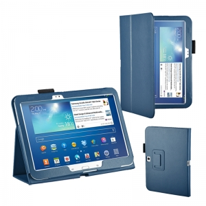 "Lichee Pattern Stand Leather Case for Samsung Galaxy Tab 3 10.1"" P5200/P5210 - Blue"