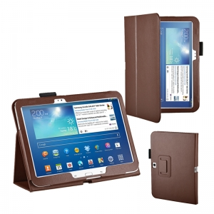 "Lichee Pattern Stand Leather Case for Samsung Galaxy Tab 3 10.1"" P5200/P5210 - Brown"
