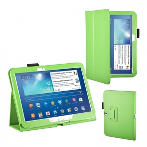 "Lichee Pattern Stand Leather Case for Samsung Galaxy Tab 3 10.1"" P5200/P5210 - Green"