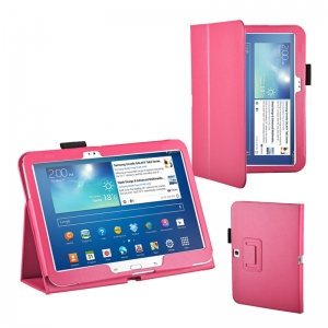 "Lichee Pattern Stand Leather Case for Samsung Galaxy Tab 3 10.1"" P5200/P5210 - Hot Pink"