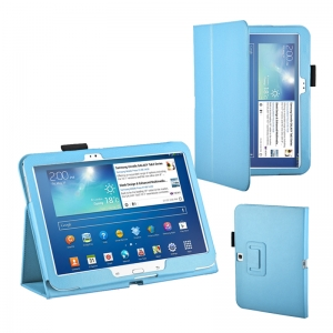 "Lichee Pattern Stand Leather Case for Samsung Galaxy Tab 3 10.1"" P5200/P5210 - Light Blue"