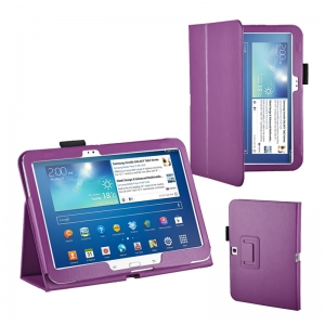 "Lichee Pattern Stand Leather Case for Samsung Galaxy Tab 3 10.1"" P5200/P5210 - Purple"