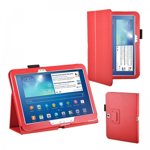 "Lichee Pattern Stand Leather Case for Samsung Galaxy Tab 3 10.1"" P5200/P5210 - Red"