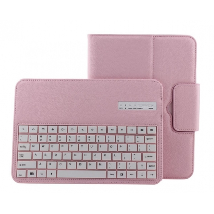 Removable Bluetooth Keyboard Leather Case For Samsung Galaxy Tab 3 10.1 P5200 P5210 - Pink