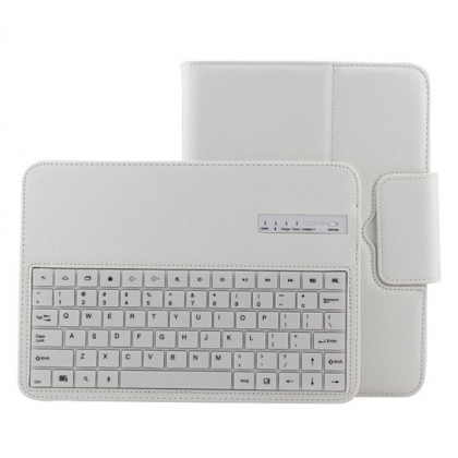Removable Bluetooth Keyboard Leather Case For Samsung Galaxy Tab 3 10.1 P5200 P5210 - White