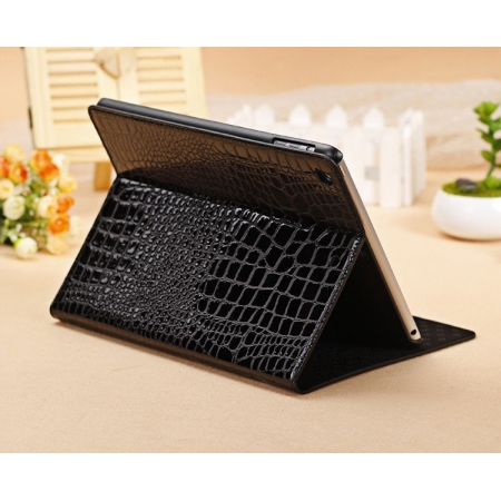 New Arrival Crocodile PU Leather Flip Folio Smart Cover Stand Case for iPad Air - Black