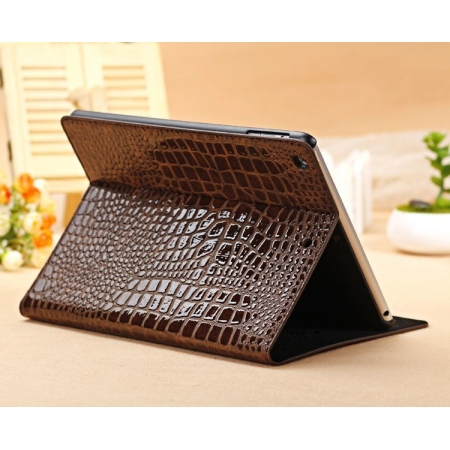 New Arrival Crocodile PU Leather Flip Folio Smart Cover Stand Case for iPad Air - Brown