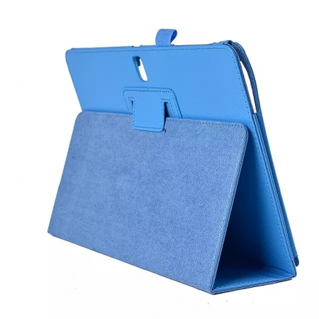 Lychee Leather Stand Fold Folio Case for Samsung Galaxy Tab S 10.5 T800 - Light blue