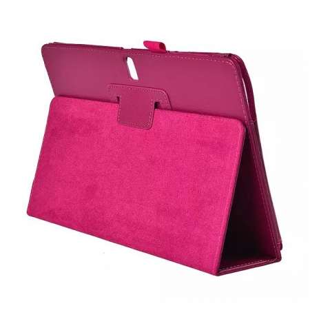 Lychee Leather Stand Fold Folio Case for Samsung Galaxy Tab S 10.5 T800 - Rose red