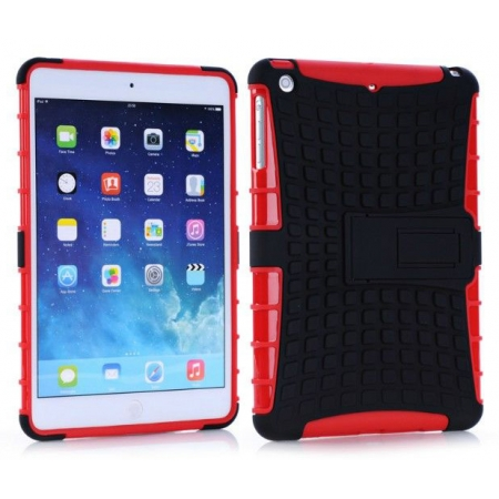 Shockproof Military Duty Hybrid Hard Case for iPad Mini 2 Retina - Red