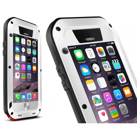 Aluminum Gorilla Glass Metal Waterproof Shockproof Cover Case for iPhone 6 Plus/6S Plus5.5 Inch - White