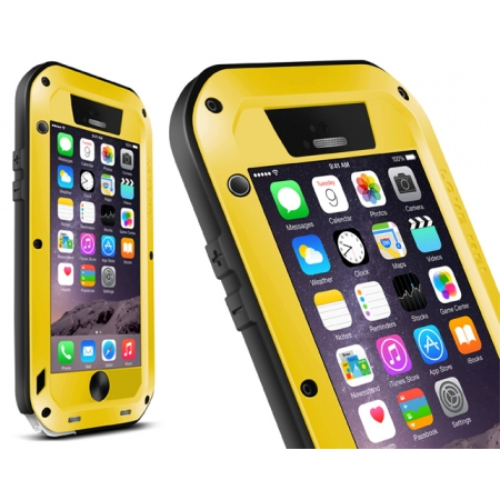 Aluminum Gorilla Glass Metal Waterproof Shockproof Cover Case for iPhone 6 Plus/6S Plus5.5 Inch - Yellow