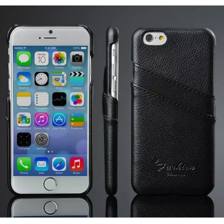 Luxury Genuine Leather Phone Case With Credit Card Holder for iPhone 6 Plus/6S Plus 5.5 Inch - Black