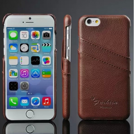 Luxury Genuine Leather Phone Case With Credit Card Holder for iPhone 6 Plus/6S Plus 5.5 Inch - Brown