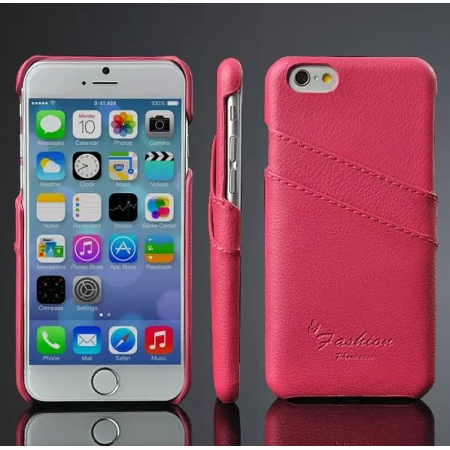 Luxury Genuine Leather Phone Case With Credit Card Holder for iPhone 6 Plus/6S Plus 5.5 Inch - Rose