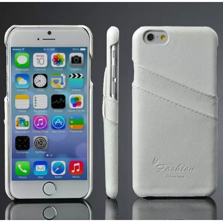 Luxury Genuine Leather Phone Case With Credit Card Holder for iPhone 6 Plus/6S Plus 5.5 Inch - White