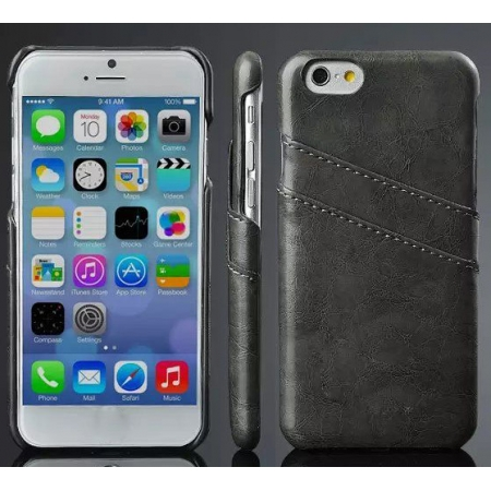 Oil Wax Credit Card Slot Holder Leather Back Case Cover For iPhone 6 Plus/6S Plus 5.5 Inch - Black
