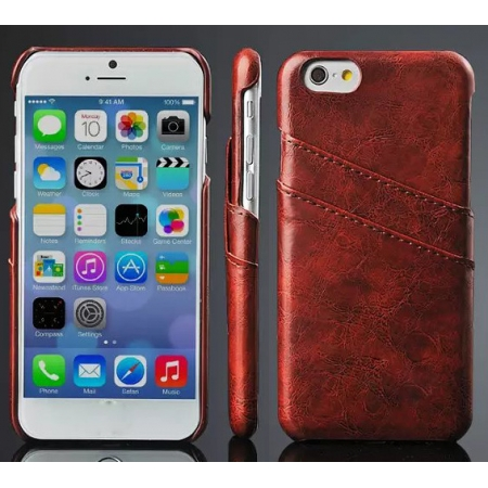 Oil Wax Credit Card Slot Holder Leather Back Case Cover For iPhone 6 Plus/6S Plus 5.5 Inch - Brown