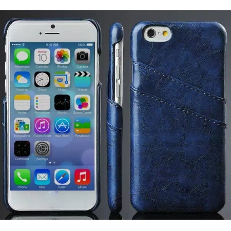Oil Wax Credit Card Slot Holder Leather Back Case Cover For iPhone 6 Plus/6S Plus 5.5 Inch - Dark Blue