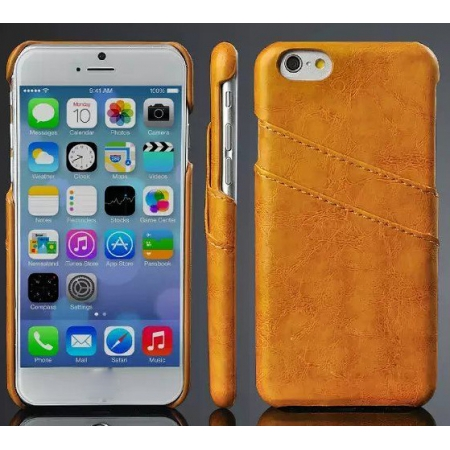 Oil Wax Credit Card Slot Holder Leather Back Case Cover For iPhone 6 Plus/6S Plus 5.5 Inch - Orange