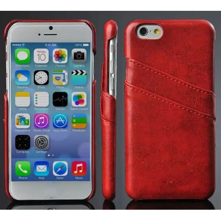 Oil Wax Credit Card Slot Holder Leather Back Case Cover For iPhone 6 Plus/6S Plus 5.5 Inch - Red