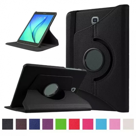 360 Degree Rotating Stand Litchi Leather Cover Case for Samsung Galaxy Tab S2 9.7 T815 - Black