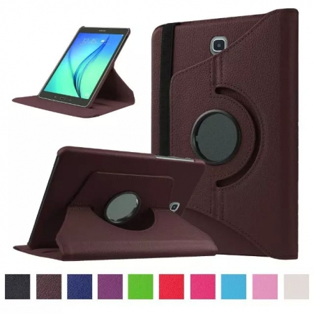 360 Degree Rotating Stand Litchi Leather Cover Case for Samsung Galaxy Tab S2 9.7 T815 - Brown