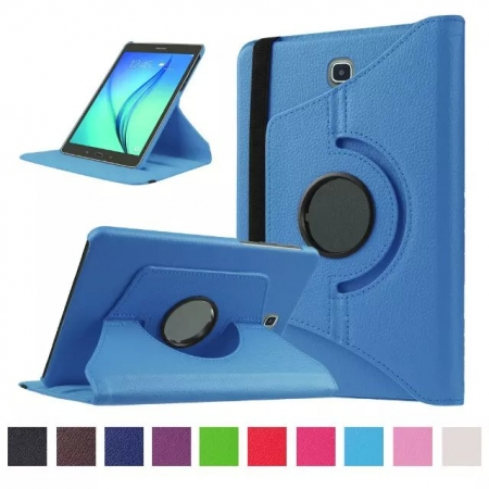 360 Degree Rotating Stand Litchi Leather Cover Case for Samsung Galaxy Tab S2 9.7 T815 - Light blue