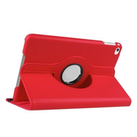 360 degree Rotating Tablet Cover Flip Leather Case for iPad Mini 4 - Red