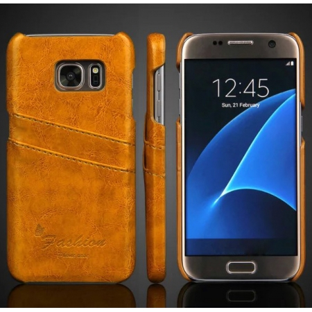 Oil Wax Credit Card Slot Holder Leather Back Case Cover For Samsung Galaxy S7 G930 - Yellow