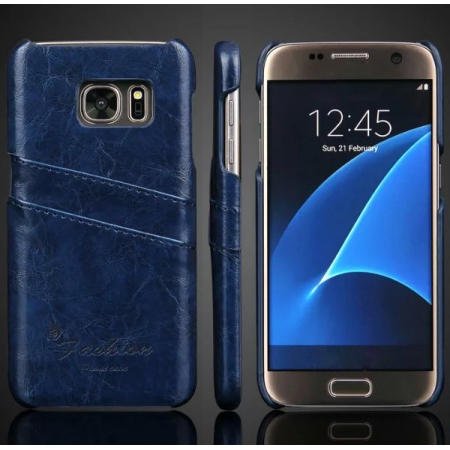 Oil Wax Credit Card Slot Holder Leather Back Case Cover For Samsung Galaxy S7 G930 - Dark Blue
