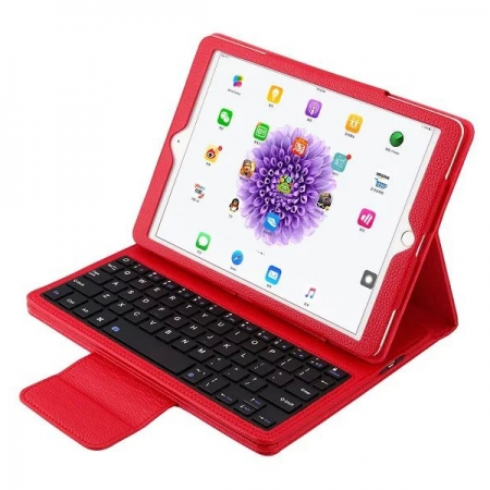 Removable Bluetooth Keyboard Stand Leather Case for iPad Pro 9.7 inch - Red