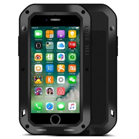 Aluminum Metal Shockproof Waterproof Gorilla Glass Cover Case For iPhone 7 4.7 inch - Black