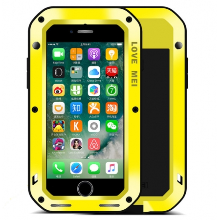 Aluminum Metal Shockproof Waterproof Gorilla Glass Cover Case For iPhone 7 4.7 inch - Yellow