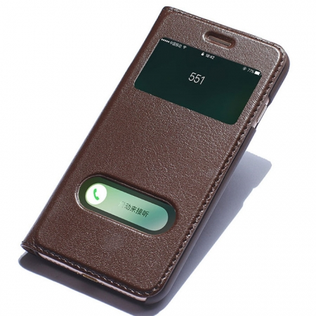 Double View Window Side Flip Stand PC+Genuine Leather Case for iPhone 7 Plus - Brown