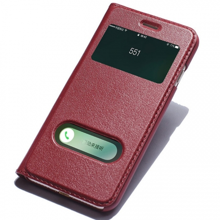 Double View Window Side Flip Stand PC+Genuine Leather Case for iPhone 7 Plus - Red