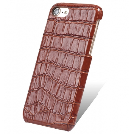 Crocodile Real Leather Back Cover Protective Case for iPhone 7 - Brown