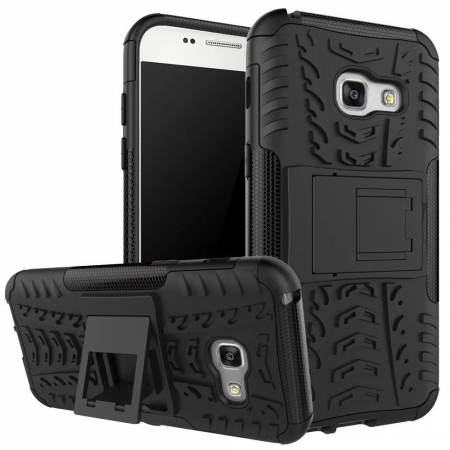 Shockproof Heavy Duty Combo Hybrid Rugged Dual Layer Grip Cover with Kickstand For Samsung Galaxy A5 2017 - Black
