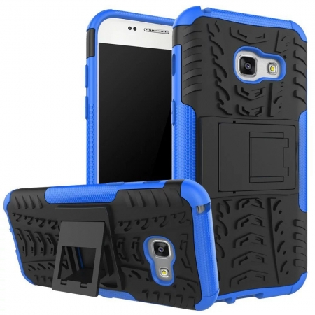 Shockproof Heavy Duty Combo Hybrid Rugged Dual Layer Grip Cover with Kickstand For Samsung Galaxy A5 2017 - Blue