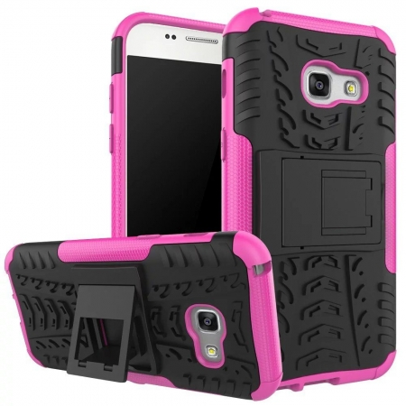 Shockproof Heavy Duty Combo Hybrid Rugged Dual Layer Grip Cover with Kickstand For Samsung Galaxy A5 2017 - Hot pink