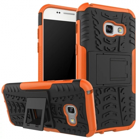 Shockproof Heavy Duty Combo Hybrid Rugged Dual Layer Grip Cover with Kickstand For Samsung Galaxy A5 2017 - Orange