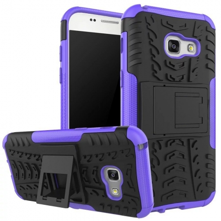 Shockproof Heavy Duty Combo Hybrid Rugged Dual Layer Grip Cover with Kickstand For Samsung Galaxy A5 2017 - Purple