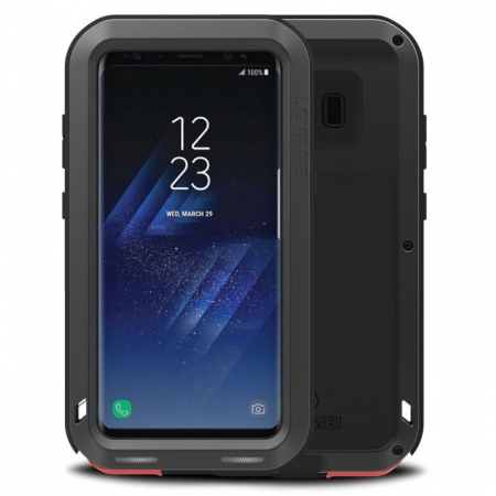 Alloy Aluminum Metal Bumper Soft Rubber Military Heavy Duty Shockproof Hard Case For Samsung Galaxy S8+ Plus - Black