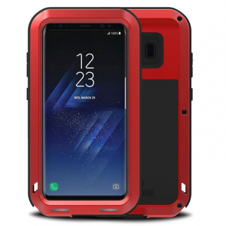 Alloy Aluminum Metal Bumper Soft Rubber Military Heavy Duty Shockproof Hard Case For Samsung Galaxy S8+ Plus - Red