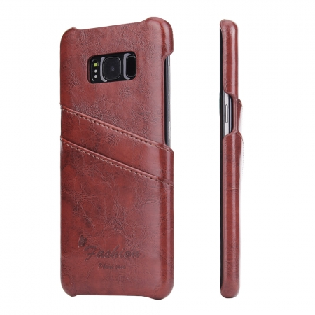 Galaxy S8 Case Back Cover Oil Wax Pattern PU Leather Case with 2 Credit Card Slot for Samsung Galaxy S8 - Brown
