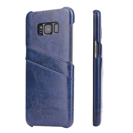 Galaxy S8 Case Back Cover Oil Wax Pattern PU Leather Case with 2 Credit Card Slot for Samsung Galaxy S8 - Dark Blue