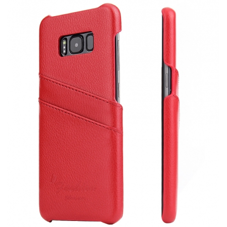 Litchi Premium Genuine Leather Back Case with Card Holder for Samsung Galaxy S8 - Red
