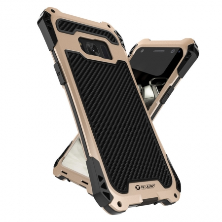 Premium Carbon Fiber Aluminum Protective Metal Cover Shockproof Bumper Case For Samsung Galaxy S8+ Plus - Black&Gold