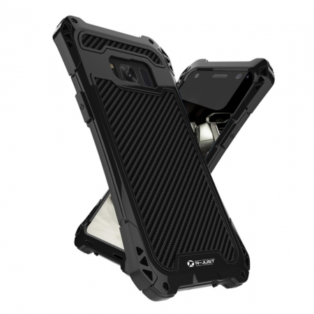 Premium Carbon Fiber Aluminum Protective Metal Cover Shockproof Bumper Case For Samsung Galaxy S8+ Plus - Black