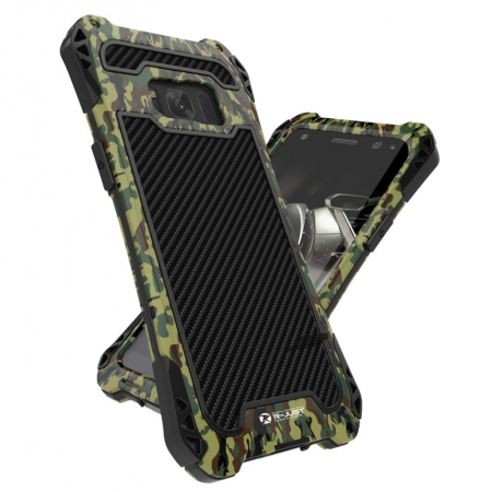 Premium Carbon Fiber Aluminum Protective Metal Cover Shockproof Bumper Case For Samsung Galaxy S8+ Plus - Camouflage
